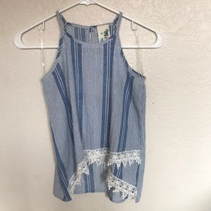 Blue and white flowy tank top